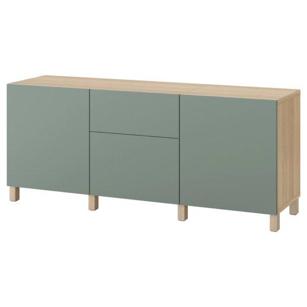 БЕСТО Комбинация для хранения с ящиками, под беленый дуб/нотвикен/стуббарп серо-зеленый 180x42x74 см - 093.026.68