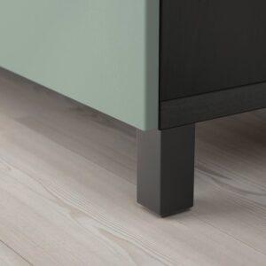 БЕСТО Комбинация для хранения с дверцами, черно-коричневый/нотвикен/стуббарп серо-зеленый 120x42x74 см - 993.027.44