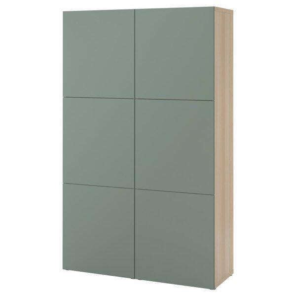 БЕСТО Комбинация для хранения с дверцами, под беленый дуб/Нотвикен серо-зеленый 120x42x192 см - 893.025.89