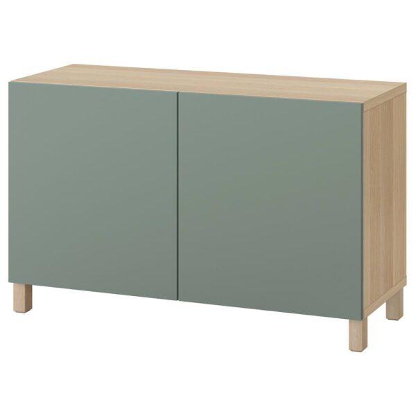 БЕСТО Комбинация для хранения с дверцами, под беленый дуб/нотвикен/стуббарп серо-зеленый 120x42x74 см | 493.027.51