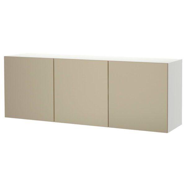 БЕСТО Комбинация настенных шкафов, белый/риксвикен под светлую бронзу 180x42x64 см   693.017.36
