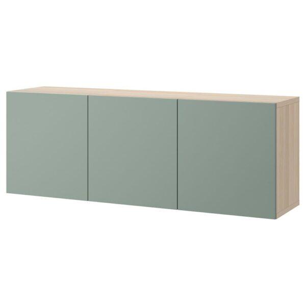 БЕСТО Комбинация настенных шкафов, под беленый дуб/Нотвикен серо-зеленый 180x42x64 см - 993.017.54
