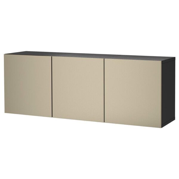БЕСТО Комбинация настенных шкафов, черно-коричневый/риксвикен под светлую бронзу 180x42x64 см | 293.017.19