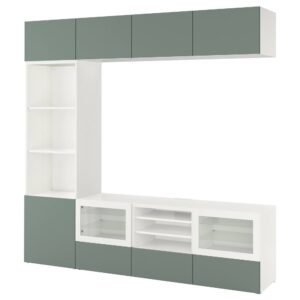 БЕСТО Шкаф для ТВ, комбин/стеклян дверцы, белый/Нотвикен серо-зеленый прозрачное стекло 240x42x230 см - 193.016.73