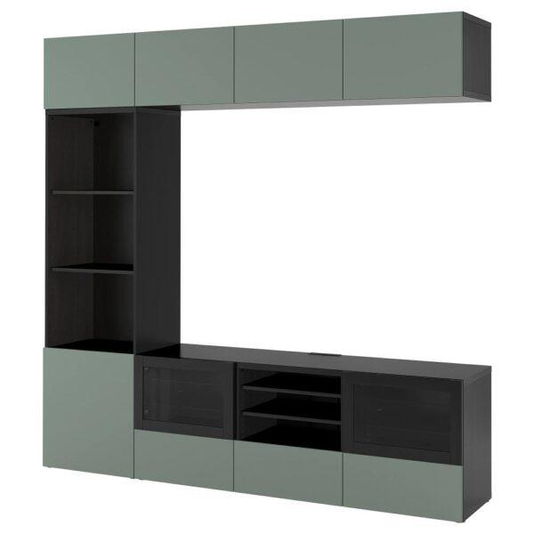 БЕСТО Шкаф для ТВ, комбин/стеклян дверцы, черно-коричневый/Нотвикен серо-зеленый прозрачное стекло 240x42x230 см - 593.016.66