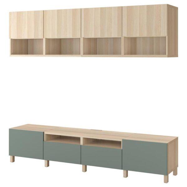 БЕСТО Шкаф для ТВ, комбинация, под беленый дуб Лаппвикен/нотвикен/стуббарп серо-зеленый 240x42x230 см - 093.029.65