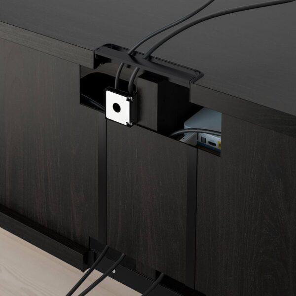 БЕСТО Тумба д/ТВ с ящиками, черно-коричневый/нотвикен/стуббарп серо-зеленый 120x42x48 см - 992.985.20