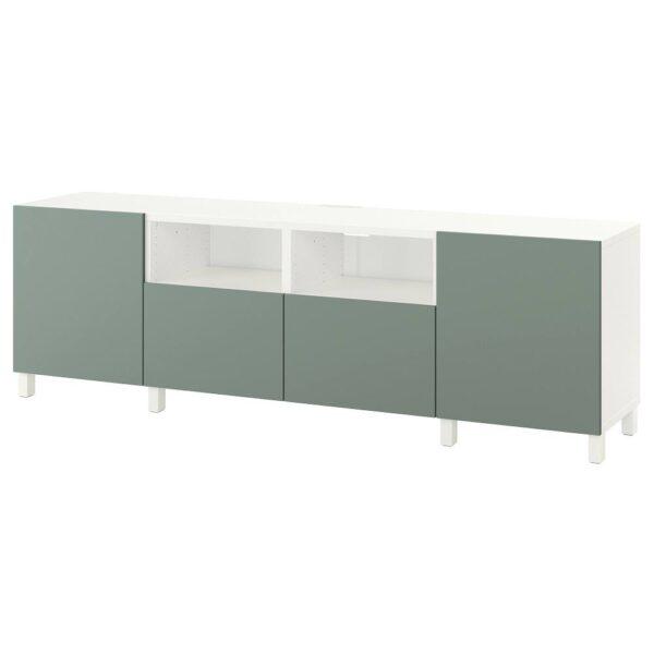 БЕСТО Тумба под ТВ, с дверцами и ящиками, белый/нотвикен/стуббарп серо-зеленый 240x42x74 см - 092.975.44