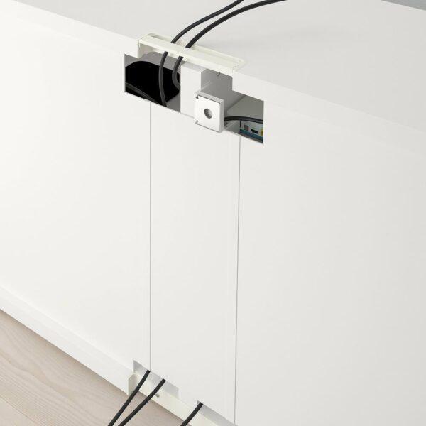 БЕСТО Тумба под ТВ, с дверцами, белый/нотвикен/стуббарп серо-зеленый 120x42x74 см - 192.990.62