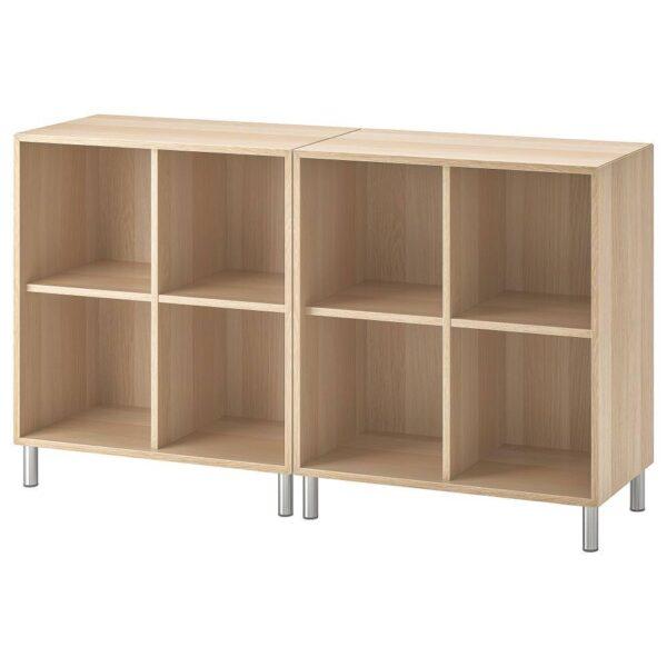 ЭКЕТ Комбинация шкафов с ножками, под беленый дуб 140x35x80 см - 592.864.87