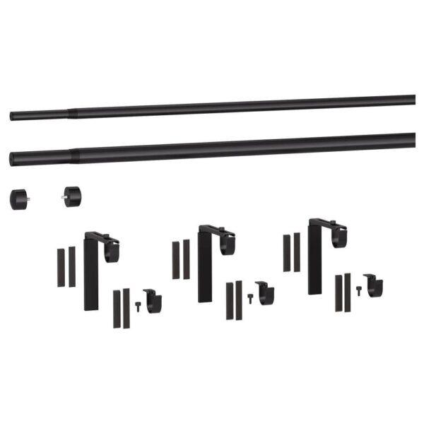 ХУГАД / РЭККА Двойной гардинный карниз/комбинация, черный 210-385 см | 493.262.24