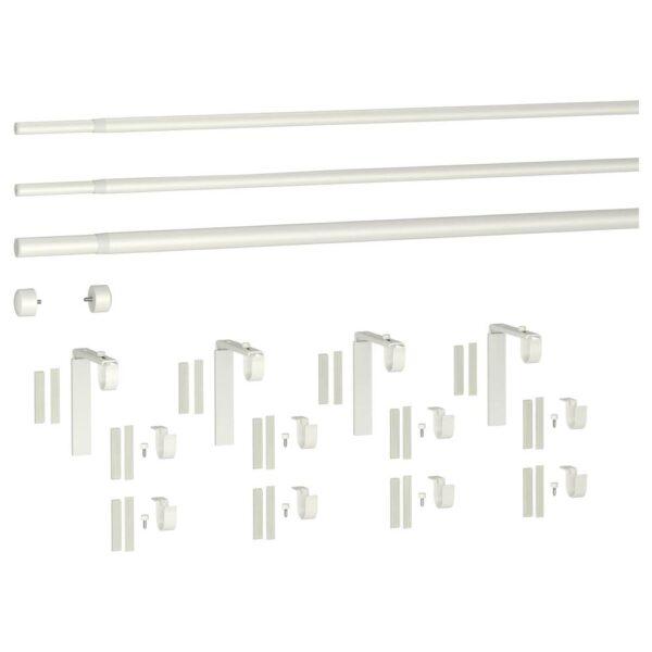 ХУГАД / РЭККА Тройной гардинный карниз,комбинация, белый 120-210 см - 493.262.00