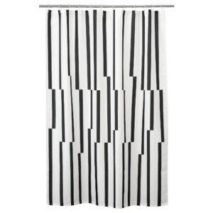 КИННЕН Штора для ванной, белый/черный 180x200 см - 804.475.01