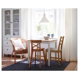 ЛЕРХАМН Стол, светлая морилка антик/белая морилка 74x74 см - 404.442.60