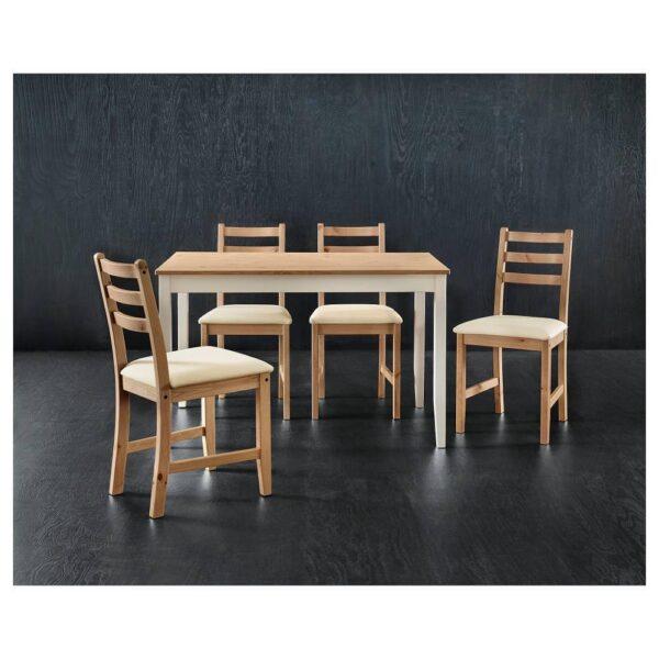 ЛЕРХАМН Стол, светлая морилка антик/белая морилка 118x74 см - 204.442.56