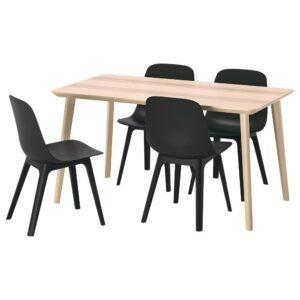 ЛИСАБО / ОДГЕР Стол и 4 стула, ясеневый шпон/антрацит 140x78 см - 493.050.66
