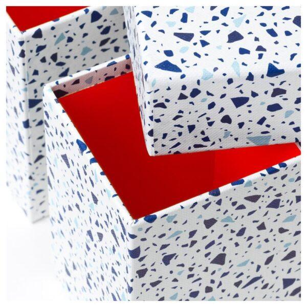 МЁЙЛИГХЕТ Набор коробок, 3 шт., красный/мозаичный орнамент - 704.418.11