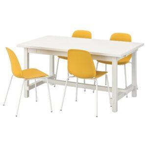 НОРДВИКЕН / ЛЕЙФ-АРНЕ Стол и 4 стула, белый/Брур-Инге белый 152/223x95 см - 993.051.82
