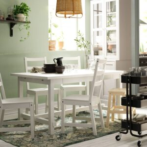 НОРДВИКЕН / НОРДВИКЕН Стол и 4 стула, белый/белый 152/223x95 см - 093.051.67