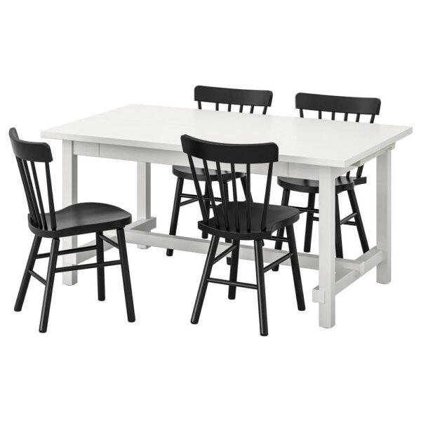 НОРДВИКЕН / НОРРАРИД Стол и 4 стула, белый/черный 152/223x95 см - 193.051.76