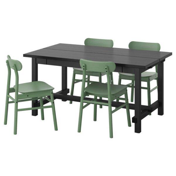 НОРДВИКЕН / РЁННИНГЕ Стол и 4 стула, черный/зеленый 152/223x95 см - 593.051.60