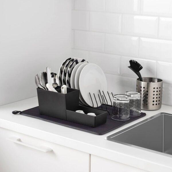 НЮХОЛИД Коврик для сушки посуды, темно-серый 44x36 см - 104.510.54