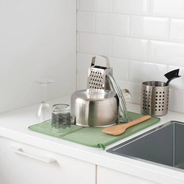 НЮХОЛИД Коврик для сушки посуды, зеленый 44x36 см - 604.510.56