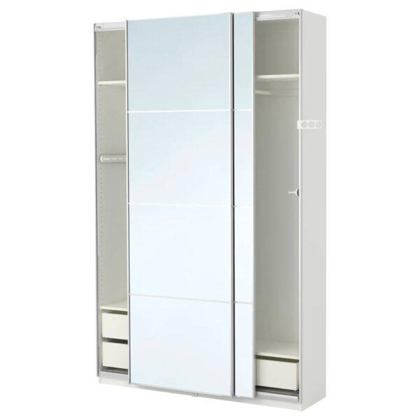 ПАКС Гардероб, белый/Аули зеркальное стекло 150x44x236 см - 293.063.35