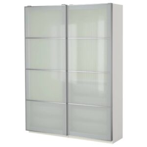 ПАКС Гардероб, белый/Сэккен матовое стекло 150x44x201 см - 693.058.62