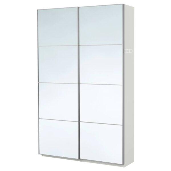 ПАКС Гардероб, белый/Аули зеркальное стекло 150x44x236 см - 293.057.36