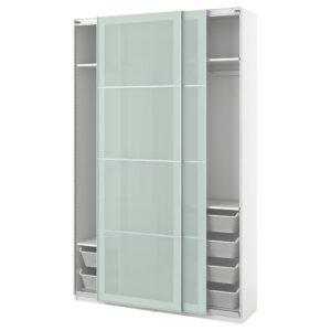 ПАКС Гардероб, белый/Сэккен матовое стекло 150x44x236 см - 393.058.54