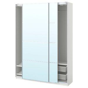 ПАКС Гардероб, белый/Аули зеркальное стекло 150x44x201 см - 693.057.39