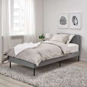 СЛАТТУМ Каркас кровати с обивкой, Книса светло-серый 90x200 см - 304.501.24