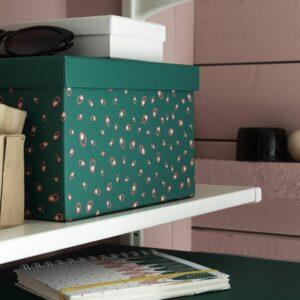 ТЬЕНА Коробка с крышкой, зеленый точечный 18x25x15 см - 804.340.56