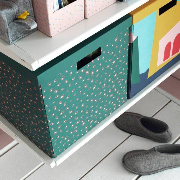 ТЬЕНА Коробка с крышкой, зеленый точечный 30x30x30 см - 604.340.62
