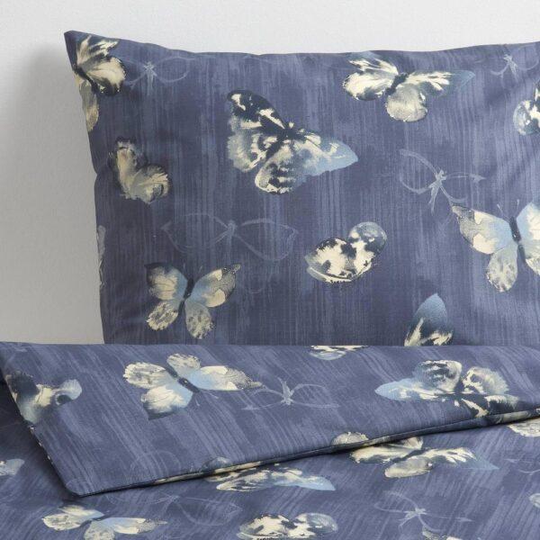 БЕРГКОРЕЛЬ Пододеяльник и 1 наволочка, темно-синий/бабочка 150x200/50x70 см - 904.606.91