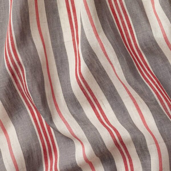 БЕРГСКРАББА Гардины, 1 пара, серый/красный в полоску 145x300 см - 204.508.60