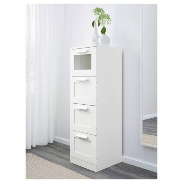 БРИМНЭС Комод с 4 ящиками, белый/матовое стекло 39x124 см - 403.951.32