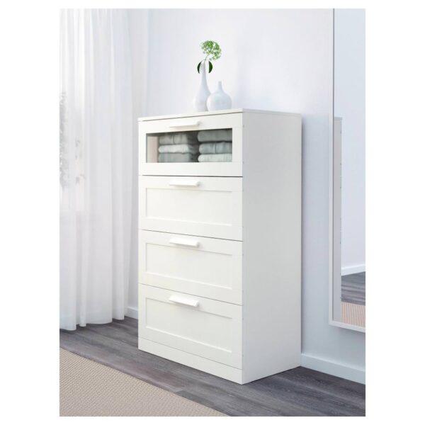 БРИМНЭС Комод с 4 ящиками, белый/матовое стекло 78x124 см - 203.951.33