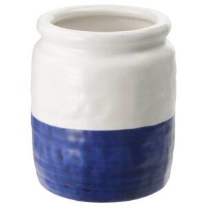 ГОДТАГБАР Ваза, керамика белый/синий 18 см - 104.367.42