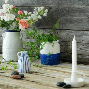 ГОДТАГБАР Ваза, керамика белый/синий 25 см - 804.367.34
