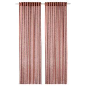 ЛЕЙОНГЭП Гардины, 1 пара, светлый коричнево-розовый 145x300 см - 304.537.21