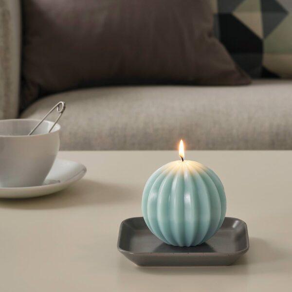 ОВЕРДЕРЛИГ Неароматич свеча формовая, круглой формы/зеленый 9.5 см - 004.275.16