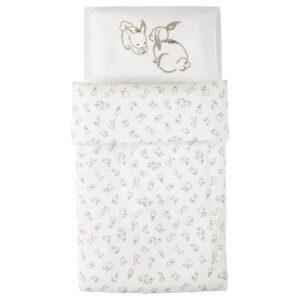 РЁДХАКЕ Пододеяльник, наволочка д/кроватки, орнамент «кролики»/белый/бежевый 110x125/35x55 см - 604.401.76