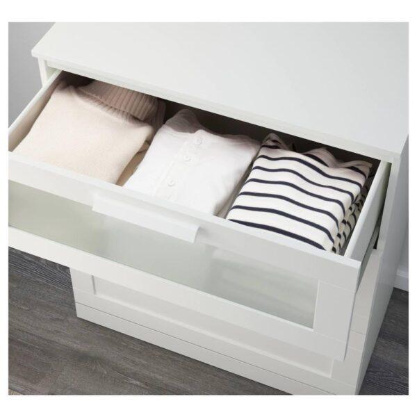 БРИМНЭС Комод с 3 ящиками, белый, матовое стекло, 78x95 см - 603.951.31
