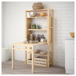 ИВАР 1 секция д/хранения+складной столик, 89x30-104x179 см - 192.485.53