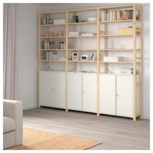 ИВАР 3 секции/шкаф/полки, сосна, белый, 259x30x226 см - 292.482.13
