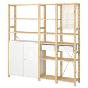 ИВАР 3 секции/шкаф/полки, сосна, белый, 178x30x179 см - 392.481.23