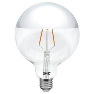 СИЛЛЬБУ Светодиод E27 140 лм, шаровидный, зеркальный верх, серебристый, 125 мм - 304.165.35