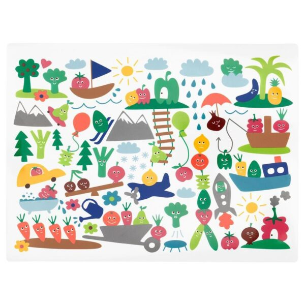 МЭТВРО Салфетка под приборы, орнамент «фрукты/овощи», разноцветный, 40x30 см - 104.269.36